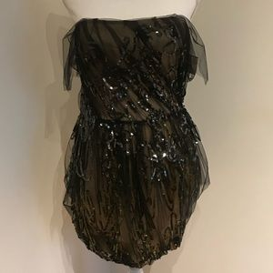 Vera Wang NWT Black Sequined Minidress